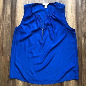 Michael Kors Blue Sleeveless Blouse Size Large